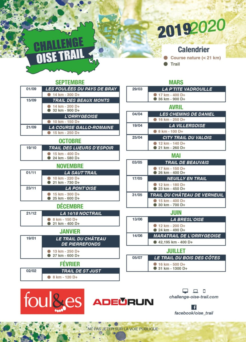 Trail Calendrier 2019.Calendrier 2019 2020 Challenge Oise Trail